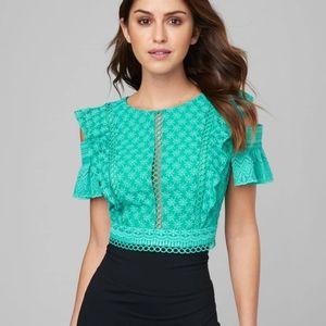 NEW Bebe cold shoulder embroidered blouse